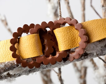 Leather bracelet butter yellow and brown