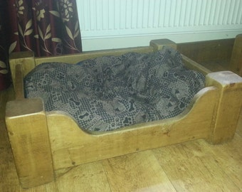 Large Solid Wood Dog Bed - pine dog bed finished with natural wax