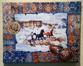 Western Art - Snowy River I and II - Appliqued Fabric art with Horses in Snow