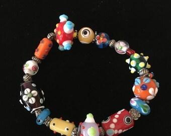 Handmade Artist Bracelet / Handmade Glass Beads