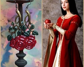 SNOW WHITE red rose dangle Earrings, hand painted big brass filigree Roses, bohemian gipsy accessories, red or white