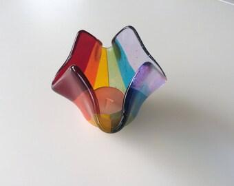 Rainbow fused glass tea light holder, rainbow candle holder, rainbow votive