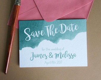 Teal Watercolor Save The Date, DIY Instant Download, Printable & Editable
