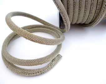 6 mm Gray/Golden  Fabric Cord_CPCA0645413841_Cords_ Metalic_of 6 mm_ pack one meter / 3,28ft