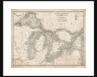 Great Lakes Map - Map Art - Lake Superior, Lake Michigan, Lake Huron, Lake Erie - Vintage Grunge