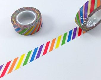 Rainbow Stripes Washi Tape • Rainbow Bright Decorative Tape • Rainbow Stripes Tape • Colorful Rainbow Washi Tape