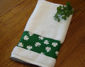 White shamrocks on emerald green fabric, white dish/hand towel, St. Patrick's Day decor, 100% cotton terry towel,hostess gift, ready to ship