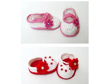 Crochet Baby Mary Janes Booties - 0 to 12 mo - Baby Shower Gift - Baby Girl Shoes - Crochet Booties for Little Princess