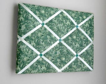 """Forest Green Paisley 11""""x14"""" Memory Board, Memo Board, Vision Board, Photo Display, Business Card Display, Bow Holder, Bow Board"""