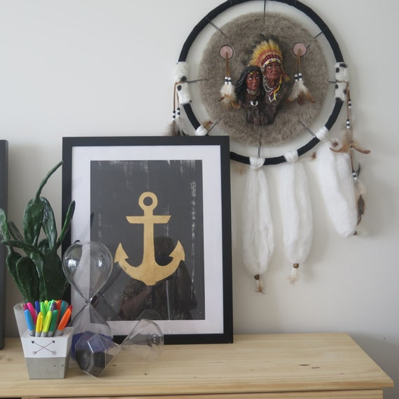 Anchor wall art, Goldleafed, Screen-print by hand on 300gsm textured cotton Paper