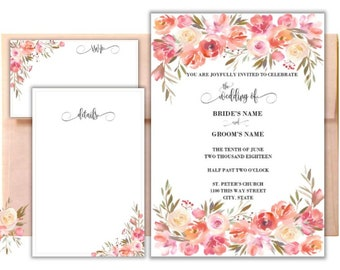 Custom Peach Dream Floral Wedding Invitation Suite