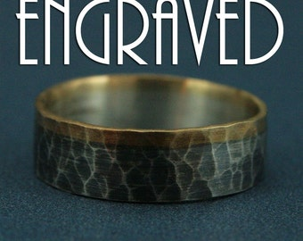 Engraved Ring--The Dark Heart--Men's Wedding Band--Two Tone Band--Bimetal Ring--Flat Edge Band--Hammered Band--Personalized Ring Engraving
