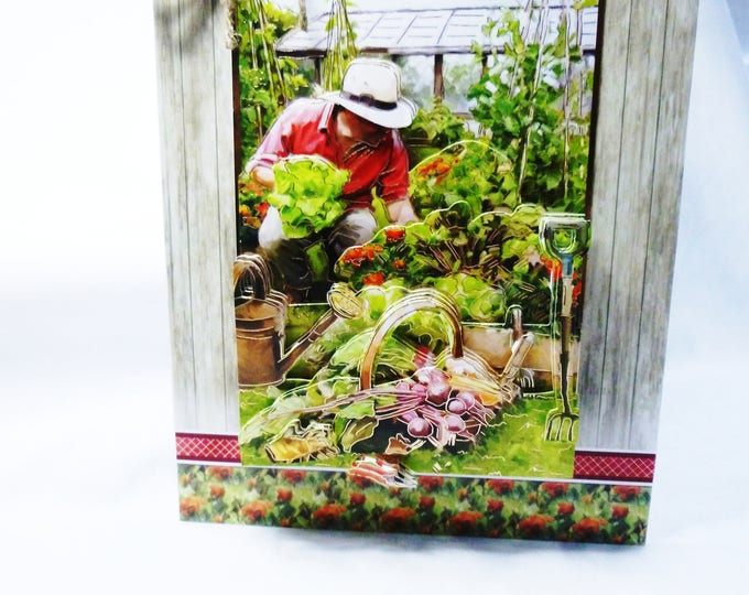 Gardeners Dream, 3D Decoupage Card, Birthday Card, Greeting Card, Gardeners Paradise, Vegetable Garden, Male,