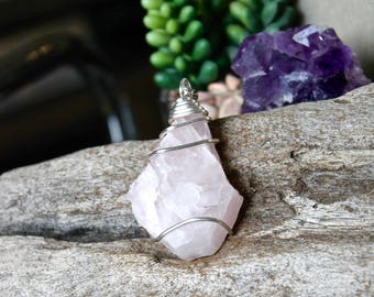 Rose Quartz Necklace - Healing Stone Necklace - Wiccan Jewelry - Quartz Crystal Necklace - Boho Chic - Pink Stone Jewelry - Hippie Jewelry