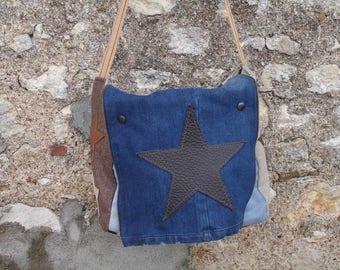 bag - shoulder bag - brown - beige wool - brown leather jeans