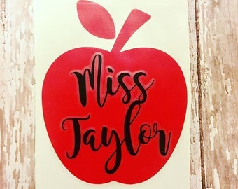Teacher Apple Name Decal Sticker Education