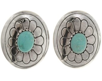 Navajo Turquoise Silver Concho Earrings Silver Studs