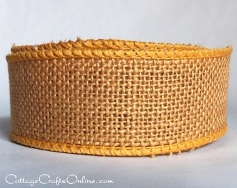 """Burlap Wired Ribbon, 1 1/2"""",  Russet Natural Jute - TWENTY FIVE Yard Roll - Offray, Yellow Gold Mustard #9, Fall Wire Edged Ribbon"""