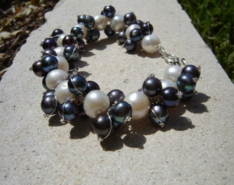 Black and White Pearl Cluster Sterling Silver Bracelet