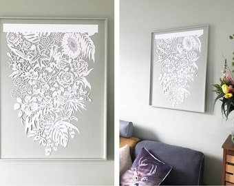 Large lasercut hanging flowers -  Reproduction of an original handcut papercut - Paper art wall hanging