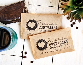 Wedding Coffee Favors - Personalized Party Favor - Cup of Love Design - Latte Love or Perfect Blend - 20 Customized Grease Resistant Bags