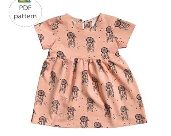 Baby dress sewing pattern, girl's dress pattern, toddler dress pdf, digital sewing patten, summer dress pattern, half sleeve dress