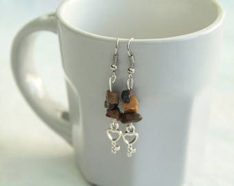 Earrings with semi-precious stone chips stone gemstone, Tiger eye here and charm