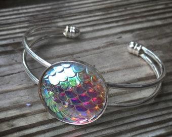 Mermaid Scale Bracelet, Nautical Cuff Bracelet.