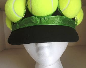 Tennis Hat - black with tennis balls