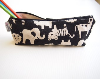 30% Off Sale - Zippered Pencil Case / Pouch - Black Zoo Animals