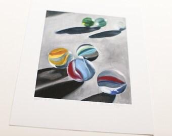Fine Art Print Glass Marbles Art From Original Oil Painting 8.5x11 Print Glass Art Print Toy Marbles Print Wall Decor Art Print Wall Prints