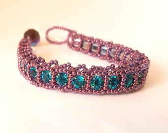 Handmade Purple and Teal Blue Beaded Crystal Rhinestone Bracelet; Teal Cup-chain Bracelet with Purple Seed Beads
