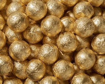 Sweetworks Balls Solid Milk Chocolate Candy - Gold - 1 LB Bag