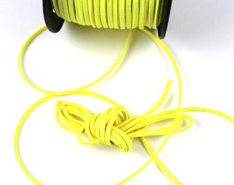 Yellow lemon 3mm suede cord / 1.5 mm sold per meter