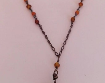 90's necklace - amber stone on metal chain.