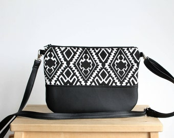 Crossbody black and white leather and fabric bag Clutch Purse Every day purse Vegan Every day bag Aztec Geometry