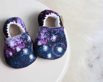 Cosmic Baby Shoes, Baby Girl Shoes, Star Baby Shoes, Purple Baby Shoes, Baby Girl Moccasins, Baby Shoes, Astronomy Baby Shoes, Cosmo Baby