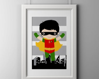 Robin wall art print, super hero wall art print, 8x10 inch robin print, shipped to your door