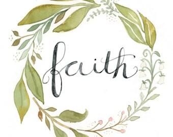 Faith Wreath | Watercolor | Lettering