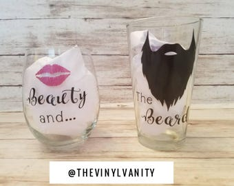 Beauty and the beard, beauty and the beard glasses, his and hers beer glasses