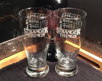 Stranger Things Pilsner Glasses, Stranger Things, Pilsner Glasses, Christmas Lights, Glassware