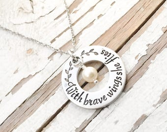 Hand stamped With BRAVE wings she FLIES necklace handstamped wire wrapped pearl follow your arrow self belief affirmation and wanderlust