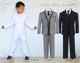 Slim Fit Premium Boys 7-Piece Suit Tuxedo with Satin Trim, Jacket Vest Pants Shirt Tie Bow Hanky, White Grey Black, Wedding Communion