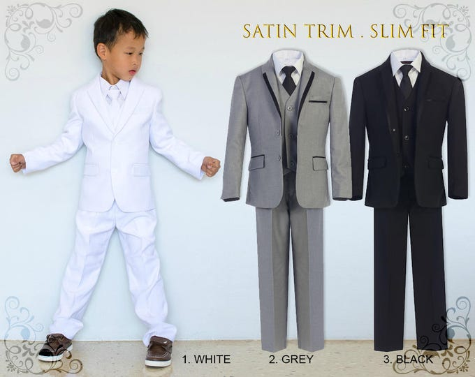 Featured listing image: Slim Fit Premium Boys 7-Piece Suit Tuxedo with Satin Trim, Jacket Vest Pants Shirt Tie Bow Hanky, White Grey Black, Wedding Communion