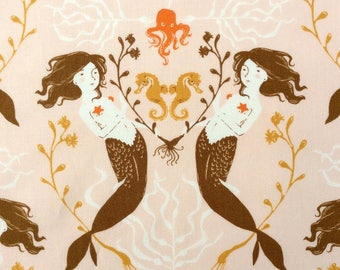 1 Yard MENDOCINO MERMAIDS 40944-3 Blush Heather Ross Peach Seahorse Kelp Seaweed Ocean Sea Octopus Windham Quilting Sewing Fabric