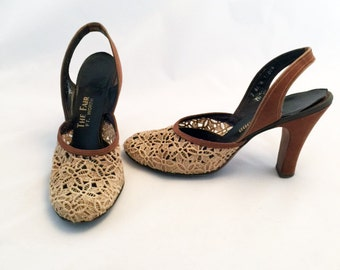 1950s Suede and Lace Slingback Heels Valwood size 7 N