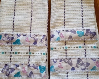 Butterfly white and lilac towels