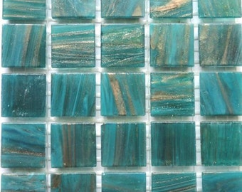 """20mm (3/4"""") Teal and Gold Streaked Semi-Translucent Glass Mosaic Tiles//Mosaic Supplies//Crafts//Mosaic"""