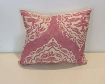 Pink Patterend Pillow with Linen Back