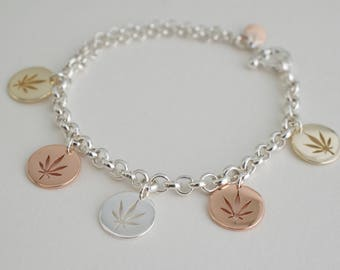 Marijuana charms bracelet - cannabis disc bracelet - trip color weed bracelet - cutout weed disc - marijuana coin bracelet